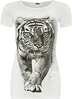 New Womens Animal Tiger Print Scoop Neck T-Shirt Short Sleeve Stretch Top - Cream - 8-10
