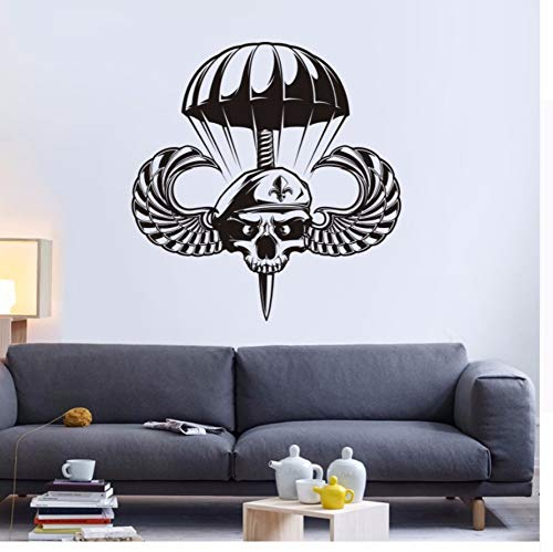 Qhrdp Flügel Schädel Halloween Soldat Aufkleber Fallschirmjäger Aufkleber Teufel Name Auto Kunst Wandtattoos Dekor Wandbild ()