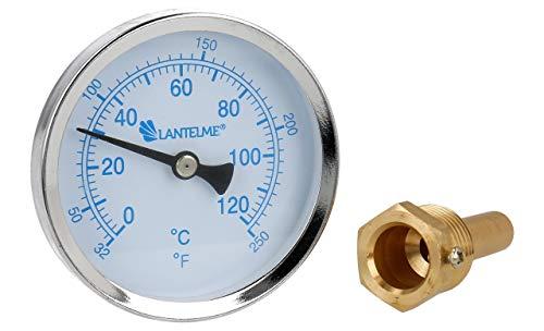 Lantelme Thermometer Heizung 120 °C Messing Gewinde Tauchhülse Kaltwasser Zeigerthermometer Skala blau Analog Bimetall 5927 -