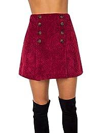 Damenmode Klassische Zweireiher Röcke Wilde Cordrock Hohe Taille A-line  Einfarbig Minirock 66d29d505e