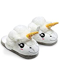BonZeaL Unicorn Slippers OneSize Soft Plush Warm Slippers Comfortable Indoor Slippers Gift for Girls Wife Fiancee Gift for Girlfriend Quirky Gifts for Girl Gift for Daughter Sister 20-27cm Feet White