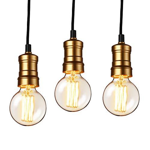 [lux.pro] Hängelampe im Retro-Look - 3er Set - (Messing) Edison Lampenfassung (Edison Lampe Leuchte)
