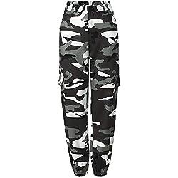 Pantalones Camuflaje Mujer Pantalones Casual Camuflaje Camo Cargo Pantalones Deportivos Sueltos Largos Anchos Chandal para Baile Hip Hop Moda Ocio Deportes al Aire Libre Yoga -L