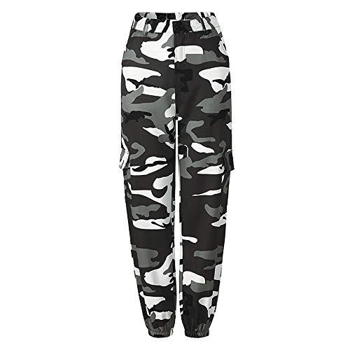 Combat Hosen Camo (Damen Camo Cargo Hosen Camouflage Frauen Tarnung Militär Armee Kampf Baggy Casual Beiläufige High Waist Lang Combat Freizeithosen Hip Hop Outdoor Grau -L)