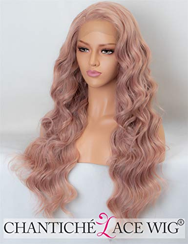 Preisvergleich Produktbild Chantiche Pink Synthetic Lace Front Wigs for Women Long Curly Wavy Wigs UK Ash Pink Heat Resistance Cosplay Party