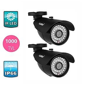 """FLOUREON Outdoor 2 PCS Cameras Waterproof de CCTV DVR Security 1/4"""" CMOS sensor 1000TVL Caméra de surveillance Caméra de sécurité à vision nocturne"""