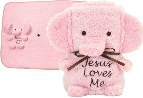 Jesus Loves Me Baby Girl Elephant Pink Blankie (41128) by Brownlow (English Manual)