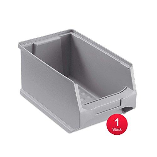 ab-in-die-BOX Sichtlagerbox, stabile Stapelbox aus Kunststoff, Lagerbox, ideal für Kleinteile (3.0-235x145x125, Grau)