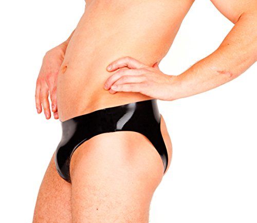 EXLATEX Herren Latex-Mini-Slip mit offenem Hinterteil
