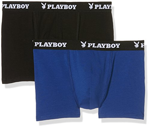 Playboy 40H040, Boxer Uomo, (pacco da 2) Multicolore(Nero/Blu)
