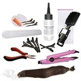 RemyHaar.eu - Starter Set Haarverlängerung 76 Teile U-Tip 0,5g 60x Echthaar Strähnen Bonding Extensions Wärmezange Glatt - 45cm 18
