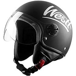 Westt Classic Casque Moto Jet Vintage en Noir Mat pour Scooter Chopper - Casque de Moto Homme et Femme Demi-Jet - ECE Homologué