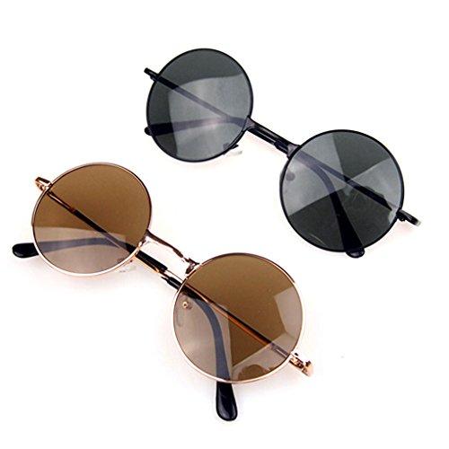 QHGstore Gafas de sol de los hombres de Steampunk retro gafas redondas Negro