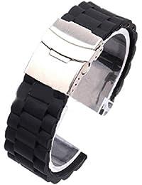Sannysis® Caucho de silicona Reloj con correa impermeable con implementación de cierre 24mm