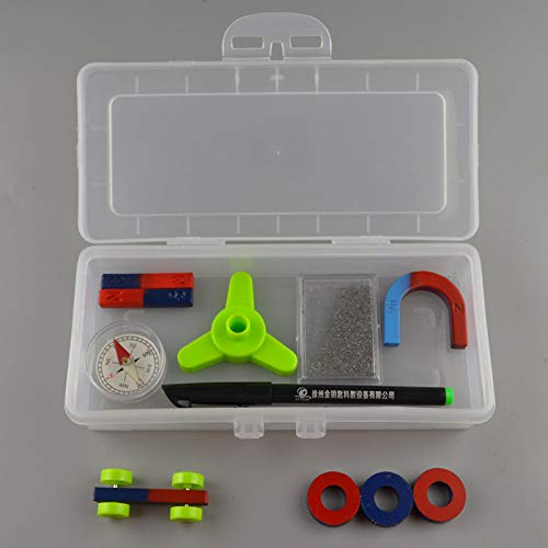 juler Lernspielzeug STEM Spielzeug Wissenschaft Kits Magnet Set Student Magnetische Experiment Ausrüstung Streifen Magnet U-förmigen Magnet Eisenpulver Box,Transparent,Einheitsgröße (Kühlschrank-magnet-kit)