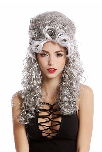 Wig me up ® -90904-za63/za103+za62 parrucca donna halloween carnevale barocco rinascimento acconciatura raccolta lunga riccia mix nero grigio argento bianco