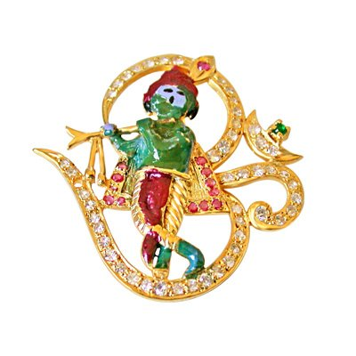 SURATDIAMOND Surat Diamonds OM Shree Krishna Pendant in Silver Studded with Ruby, Emerald & white Crystals for All (SDS184)