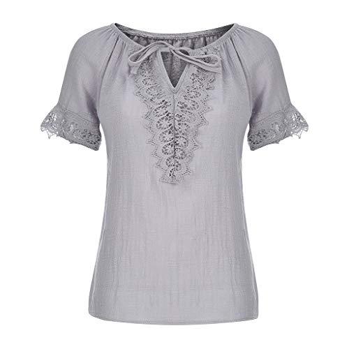 f87130aee3681e T-Shirts Grand Taille Col V pour Femmes en Couture De Dentelle,Chemisier De  Couleur Unie Casual Blouse Manches Courtes Eaylis
