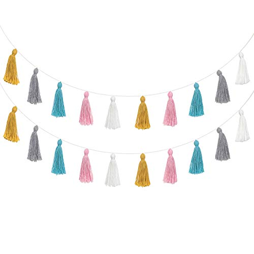 Mkouo 2 Pack Baumwolle Tassel Girlande Colored Tassels Banner Dekorativ Wandbehänge for Boho Home Decor, Birthday Mother Day Party, Baby Shower, Nursey Room (Verkauf Zum Foto-requisiten)