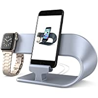 Apple Watch and iPhone Chaging Dock,PUGO TOP Apple Watch Stand iPhone Charger Station-Silver