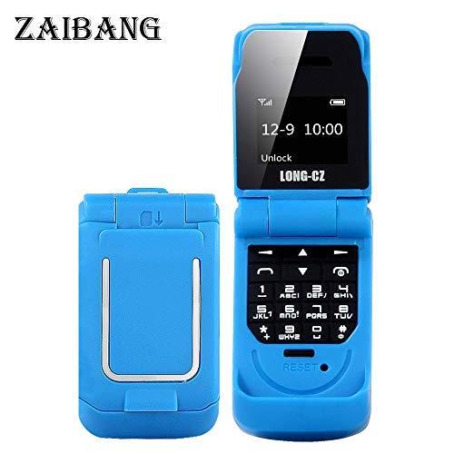 Long CZ J9 Das kleinste Blutooth-Telefon Mini-Flip-Telefon 2G GSM-Kunststoff-Geschenk Voice Changer 3 in 1 Bluetooth-Headset Dialer 18g (Blau) -