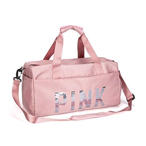 FEDUAN PINK Sporttasche mit Schuhfach Nassfach Reisetasche modisch wasserdicht für Damen und Herren Yoga Pilates Strand Freizeit Sauna...