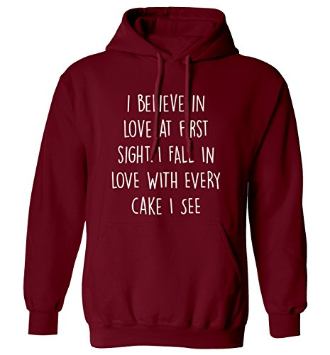 I Believe In Love At First Sight. I FALL IN LOVE mit jeder Kuchen I: Hoodie XS - 2 X L Gr. Large, kastanienbraun