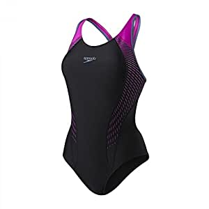 Speedo Damen Badeanzug Fit Laneback 8-11389 Black/Diva/Vita Grey 36