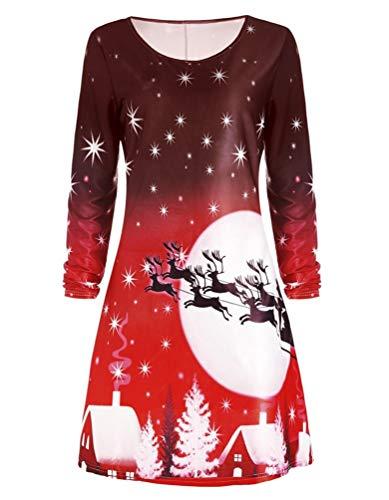 Party Kleid Casual Langarm U-Ausschnitt A Line Kleid - Rot - (Etikett M) ()