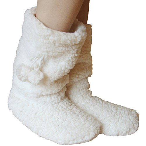 Ladies Fleece Lined Thermal Super Soft Fluffy Winter Slipper Boots (Cream)