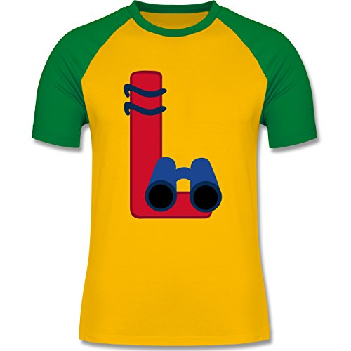 Anfangsbuchstaben - L Schifffahrt - zweifarbiges Baseballshirt für Männer Gelb/Grün