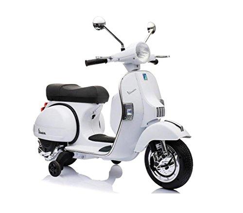 LT887 Moto eléctrica PIAGGIO para niños VESPA PX con ruedas 12V luces led - Blanco