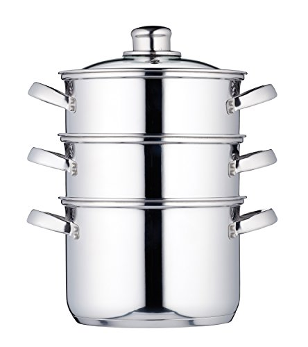 "KitchenCraft Induction-Safe Stainless Steel 3-Tier Food Steamer Pan / Stock Pot, 18 cm (7"")"