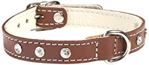 Doggy Things Fantasia Hand Made Leather Single Row Diamante Collar, 50 cm, Brown