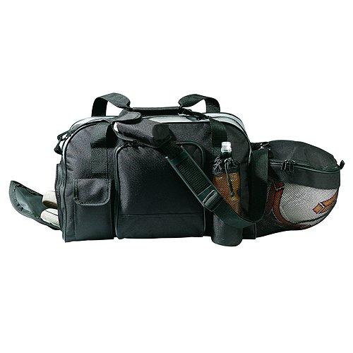 """elastofit® Sporttasche """"Fußball"""" Schultertasche Gymtasche mit Separatem Fußballfach und Schuhfach (Schwarz)"""