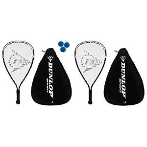 Dunlop 2 x Nanomax Pro Racquetball Schläger + 3 Bälle