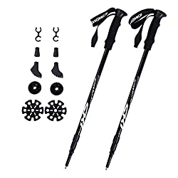 Songmics Trekking Poles Pair Of Antishock Hiking Sticks 65 - 135 Cm Black Sas60h