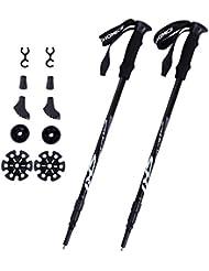 Songmics Bâtons De Marche Nordique Télescopiques Trekking Ski Anti-Chocs Longueur 65-135 cm SAS60H