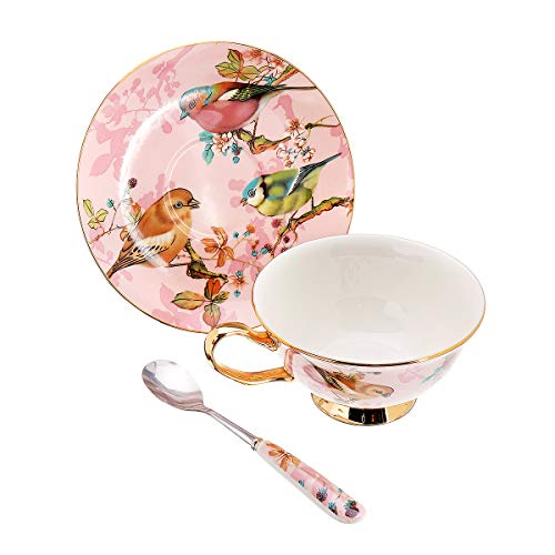 PANGUN Fine Bone China Tea Coffee Cup Saucer Spoon Set 200Ml Luxury Ceramic Becher