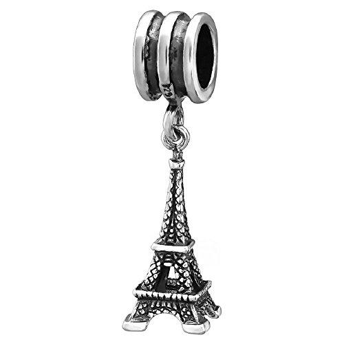 So chic gioielli - charm pendente torre eiffel parigi francia argento sterling 925 - compatible con pandora, trollbeads, chamilia, biagi