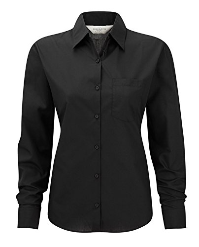 Russell Collection Women's Easycare Poplin Long Sleeve Shirt Noir
