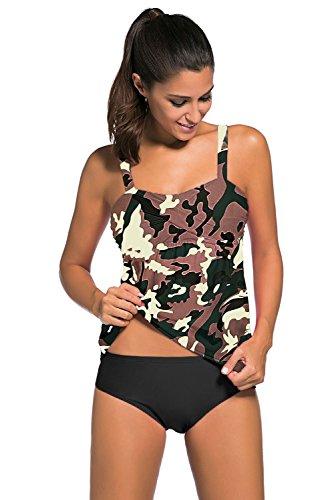 Wellwits Damen Tankini Camouflage