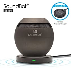 SoundBot SB580 Qi Charged Bluetooth 4.0 Wireless Speaker Inductive Charge Enabled + PowerBot PB1020 Wireless Qi Charger Charging Pad w/ Built-in Mic, 5Hrs Playback Time, NFC, Sensory Touch Control