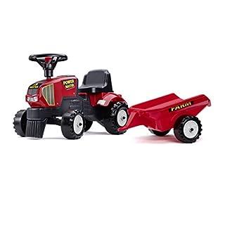 Falk–1013B–Fahrrad Und Fahrzeug für Kinder–Baby Traktor Power Master Rot + Anhänger