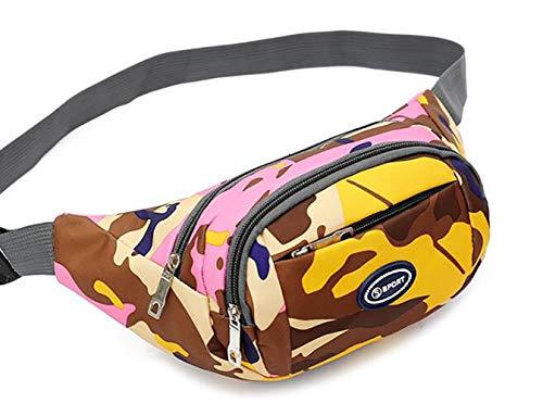 KURAZ Taillenbauflett, Outdoor Sports Running Travel Bag Geldbeutel, 3 Zip Pocket, wasserdicht und war resistent, geeignet für Wanderurlaube,Pink -