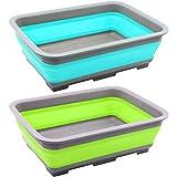 com-four 2X Abwasch-Schüssel aus Silikon, Faltbare Camping-Schüssel in verschieden Farben [Farbe variiert] (02 Stück - bunt V2)