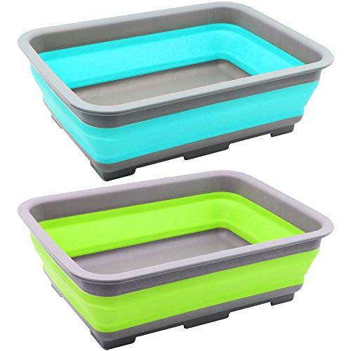 com-four® 2X Abwasch-Schüssel aus Silikon, Faltbare Camping-Schüssel in verschieden Farben [Farbe variiert] (02 Stück - bunt V2)