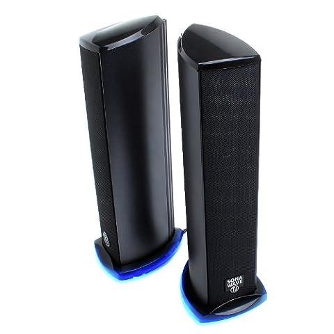 GOgroove PC 2.0 Lautsprecher Set / Speaker Lautsprechersystem für Computer / LED Stereo für Laptop und Gaming Computerspiele - Arbeitet mit Apple MacBook Air, Asus EeeBook, Dell Optiplex & More
