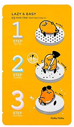 Holika Holika® - Lazy & Easy - Pig Nose Clear - 1 x Black Head 3-Step Kit in der Gudetama Edition für Frauen und Männer - Nasenpflaster gegen Mitesser und Unreinheiten - Black Head Entfernung in drei Schritten - Nasenpflaster gegen Mitesser und Unreinheiten - Gesichtsreinigung unreine Haut für Männer und Frauen - Gesichtsmasken & Gesichtskuren - Streifen - Tagespflege - Gesichtspeelings