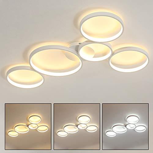 LED Deckenleuchte Runde Design Deckenlampe Wohnzimmer Schlafzimmer Deckenbeleuchtung Hell Groß Lampe Deko Decke Leuchte Modern Wohnzimmerlicht 90W (Weiß Dimmbar Licht, 5 Ring)